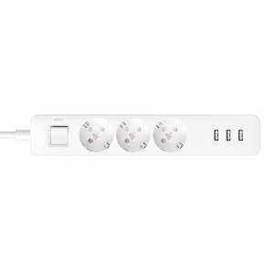 Prelungitor Xiaomi Mi Power Strip, 3 prize, 3 port-uri USB, 16A, 3680W, 1.4m cablu2