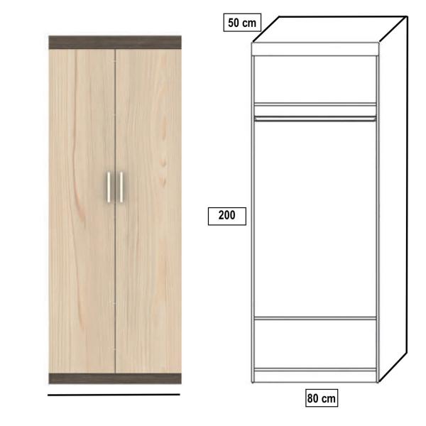 Dulap 2 Usi Tennesse 210x80x50cm 1