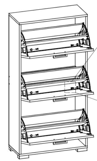 Pantofar Wenghe Cu 3 Rafturi , Dimensiune 120X60X25 cm 3
