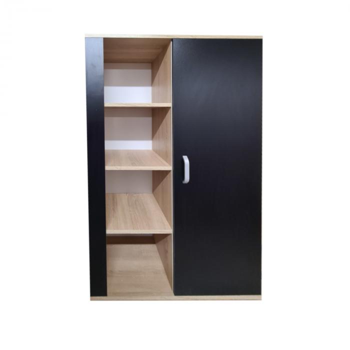 Biblioteca Domino 140x80x40cm, Culoare Sonoma-Negru, Pal 18mm [0]