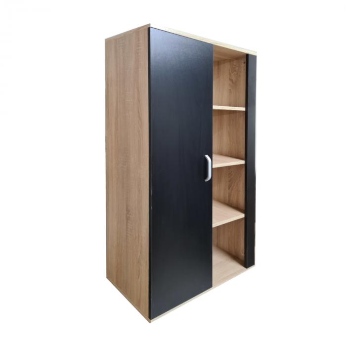 Biblioteca Domino 140x80x40cm, Culoare Sonoma-Negru, Pal 18mm [1]
