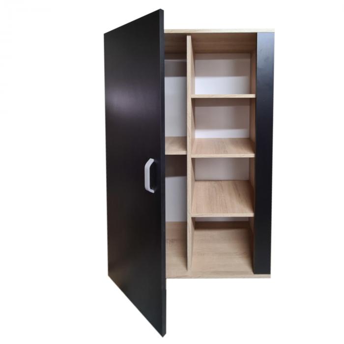 Biblioteca Domino 140x80x40cm, Culoare Sonoma-Negru, Pal 18mm [2]