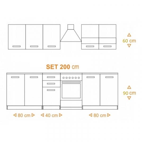 Bucatarie Expres 200 CM, Culoare Sonoma/ Alb din Pal de 18 mm Grosime si Cant ABS 1