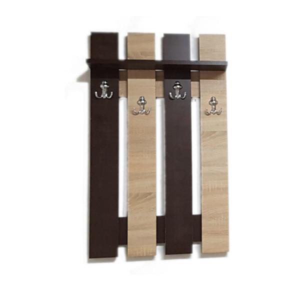 Cuier Hol Wenge/Sonoma Pentru Perete cu 4 Cuiere Duble 100 x 60 cm , Pal 18mm si cant ABS 0