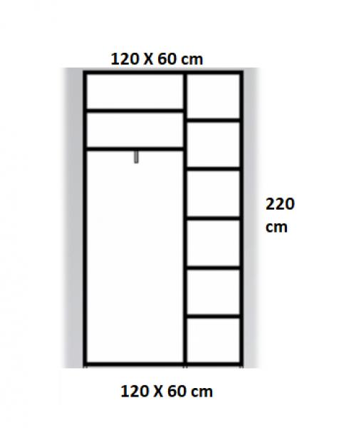 Dressing Wenghe cu 2 usi culisante Sonoma,Dimensiuni H220xL120xl60cm 1