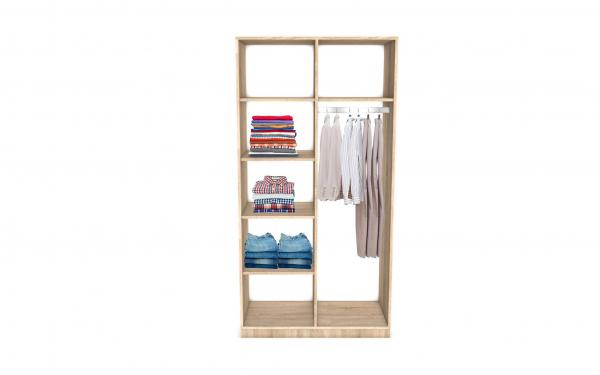 Dulap Sonoma cu bara de haine si 4 rafturi, 200x100x50 cm 2