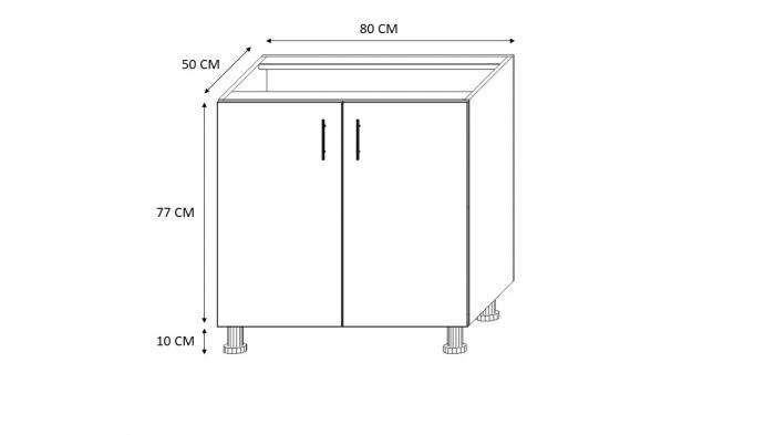 Masca pentru chiuveta cu 2 usi Sonoma 80x87x50 cm din Pal 18mm 1