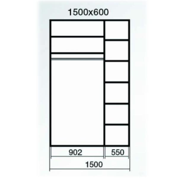 Dressing Wenghe cu 2 usi culisante Sonoma,Dimensiuni H220 x L150 x 60cm 1
