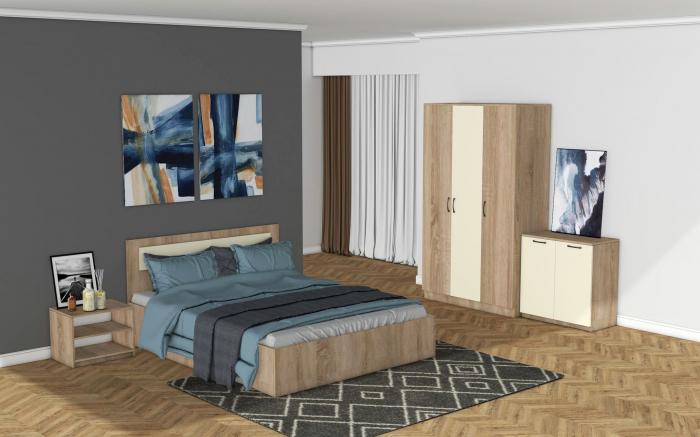 Set Dormitor MARIO Stejar Bardolino si ALB [0]
