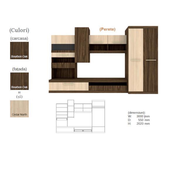 Living Tokio 3.0 m , Culoare Bourbon Oak cu Cedar North 1