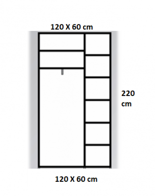 Dressing Wenghe cu 2 usi culisante Sonoma,Dimensiuni H220xL120xl60cm1