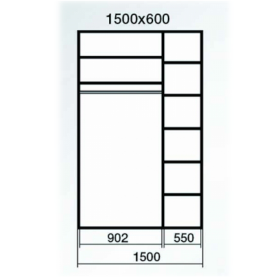 Dressing Wenghe cu 2 usi culisante Sonoma,Dimensiuni H220 x L150 x 60cm1