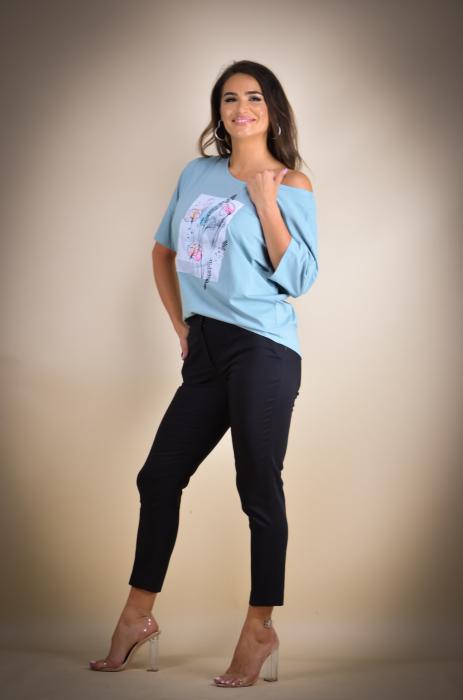 Bluza dama cu imprimeu maci din bumbac [2]
