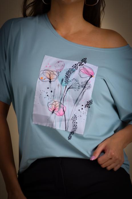 Bluza dama cu imprimeu maci din bumbac [5]