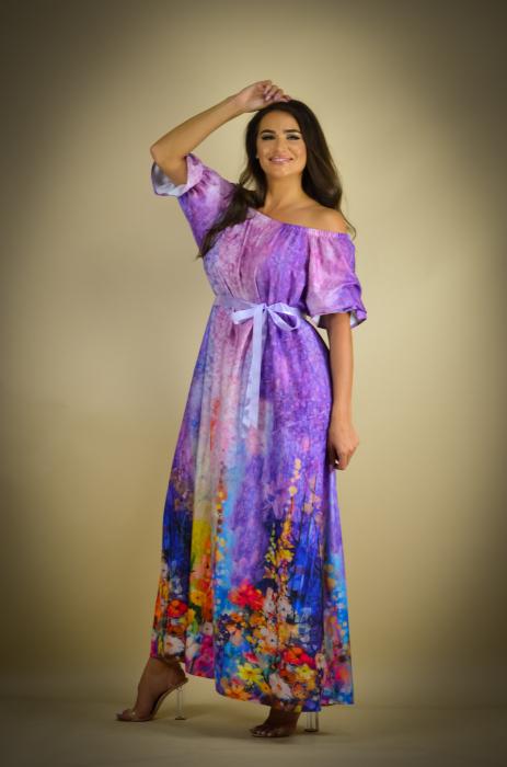 Rochie lunga cu imprimeu cu flori multicolore [4]