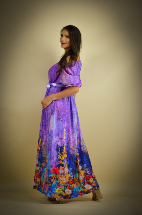Rochie lunga cu imprimeu cu flori multicolore [5]
