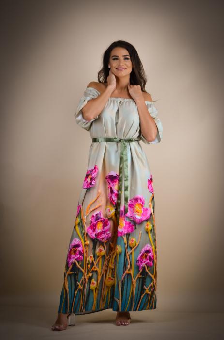 Rochie lunga cu imprimeu vesel [1]