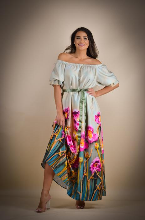Rochie lunga cu imprimeu vesel [0]
