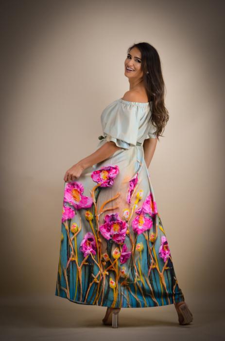 Rochie lunga cu imprimeu vesel [2]