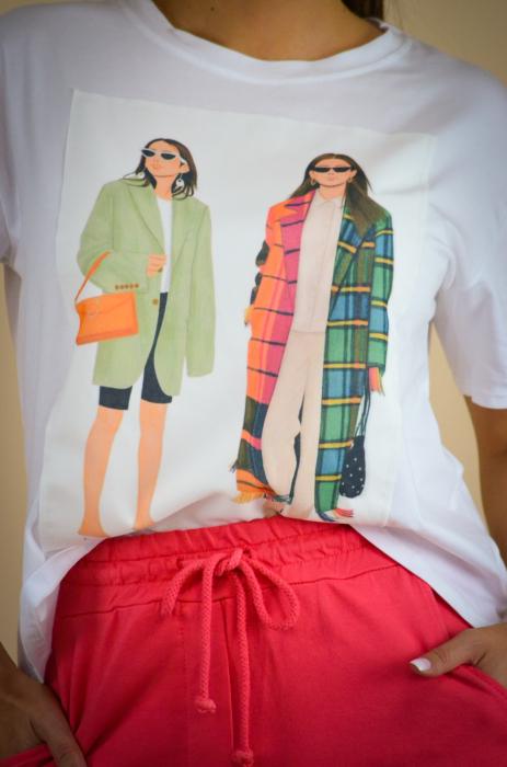Bluza dama cu imprimeu colorat din bumbac [2]
