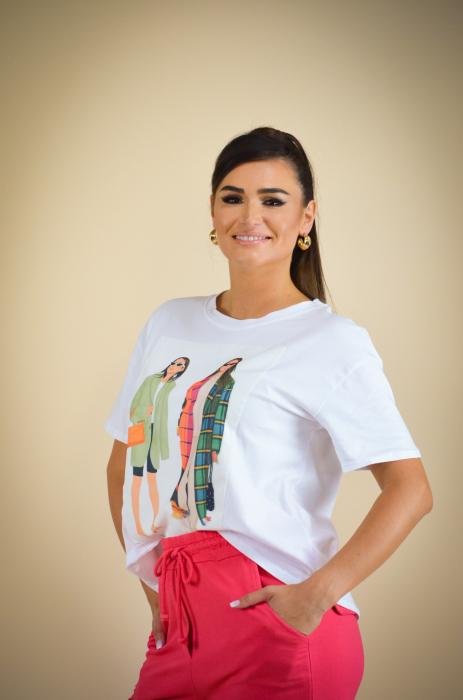 Bluza dama cu imprimeu colorat din bumbac [3]