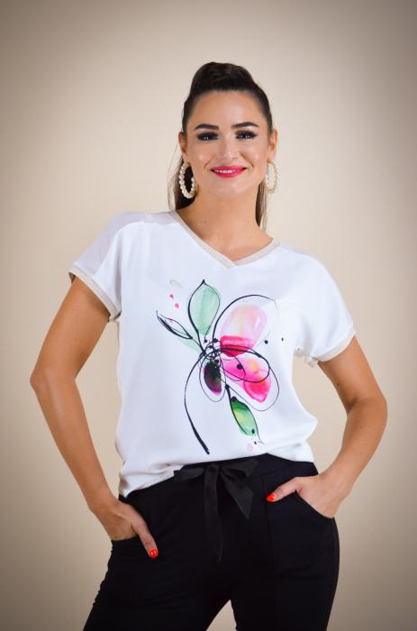 Bluza dama cu imprimeu floare, din vascoza [0]