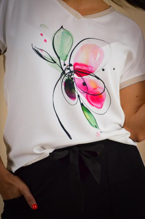 Bluza dama cu imprimeu floare, din vascoza [3]