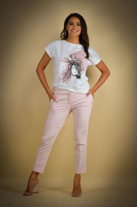 Pantaloni dama  eleganti roz [0]