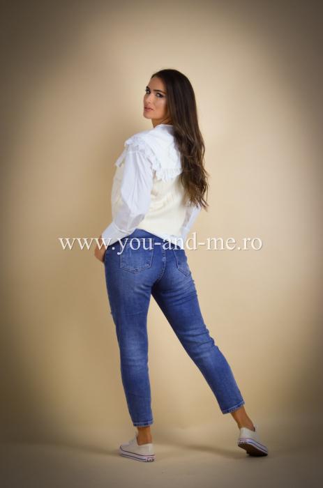 Pantaloni din jeans cu talie inalta [3]
