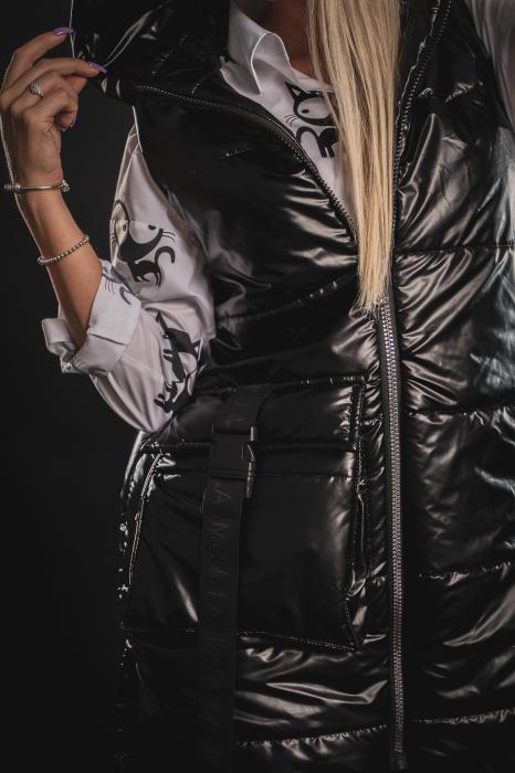 Vesta neagra asimetrica cu catarama la buzunar [3]