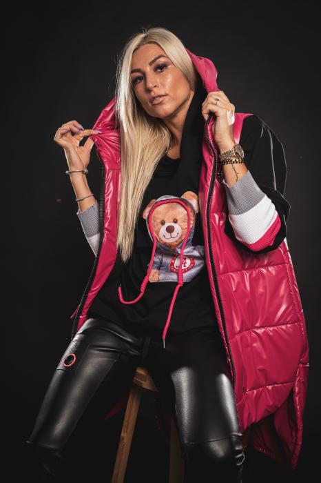 Vesta roz asimetrica cu catarama la buzunar [4]