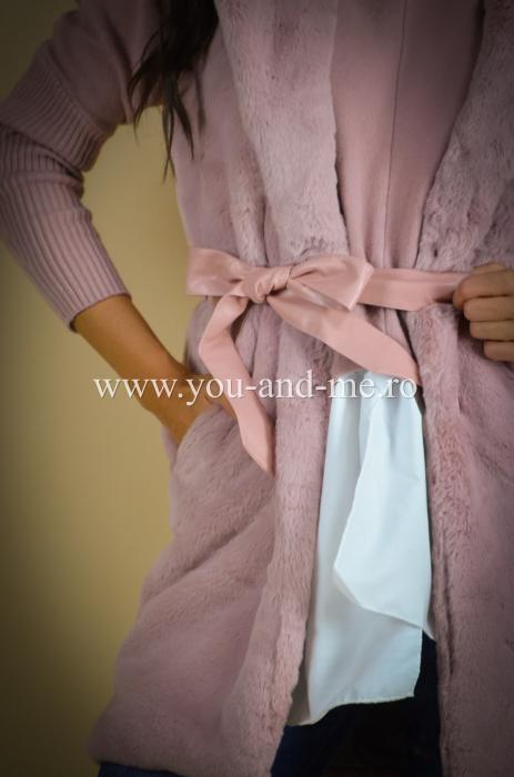 Vesta roz cu cordon in talie [3]