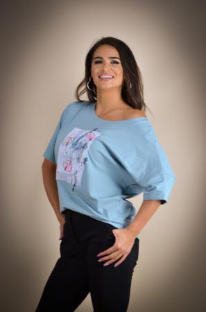 Bluza dama cu imprimeu maci din bumbac [3]
