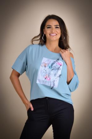 Bluza dama cu imprimeu maci din bumbac [1]