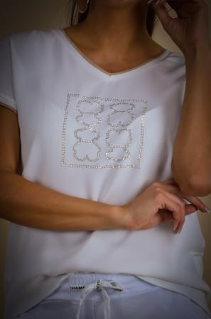 Bluza dama cu imprimeu ursuleti din vascoza [3]