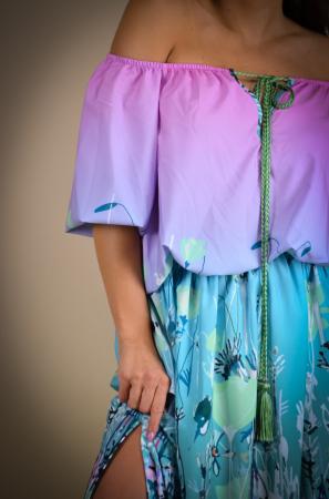 Rochie lunga cu snur in talie in degradee [4]