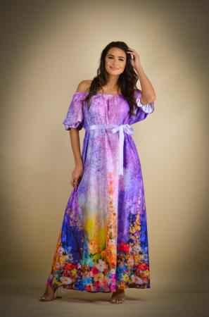Rochie lunga cu imprimeu cu flori multicolore [0]