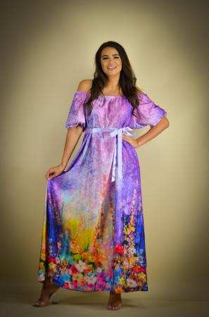 Rochie lunga cu imprimeu cu flori multicolore [1]