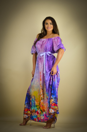 Rochie lunga cu imprimeu cu flori multicolore [2]