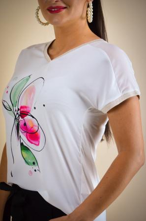 Bluza dama cu imprimeu floare, din vascoza [4]