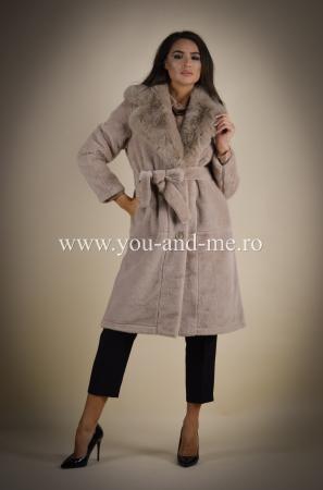 Palton bej cu blana [1]