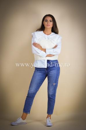 Pantaloni din jeans cu talie inalta [0]