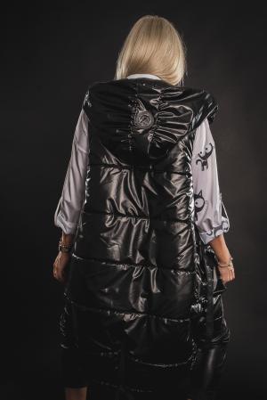 Vesta neagra asimetrica cu catarama la buzunar [8]