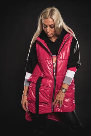 Vesta roz asimetrica cu catarama la buzunar [6]