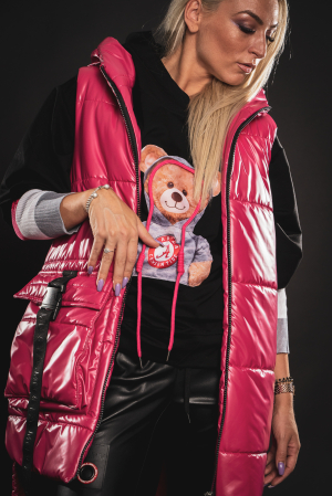 Vesta roz asimetrica cu catarama la buzunar [1]
