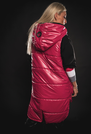 Vesta roz asimetrica cu catarama la buzunar [9]