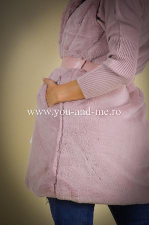 Vesta roz cu cordon in talie [6]