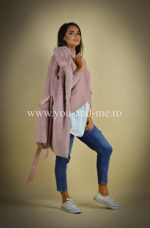 Vesta roz cu cordon in talie [8]