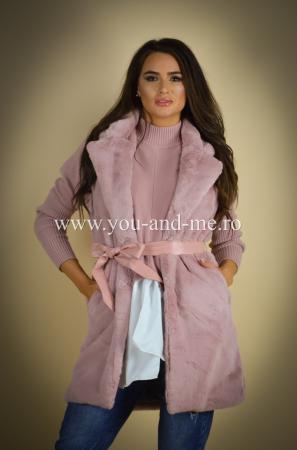 Vesta roz cu cordon in talie [2]