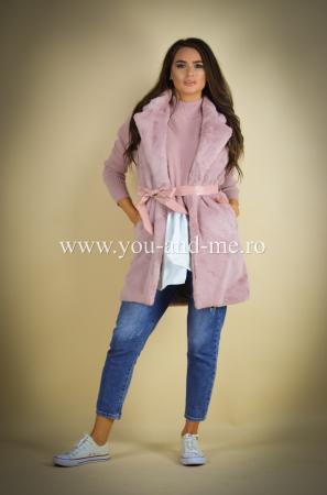 Vesta roz cu cordon in talie [1]